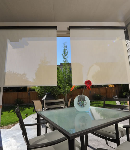 Exterior Solar Shades With Valance, Cord, Pole Or Motor Operated