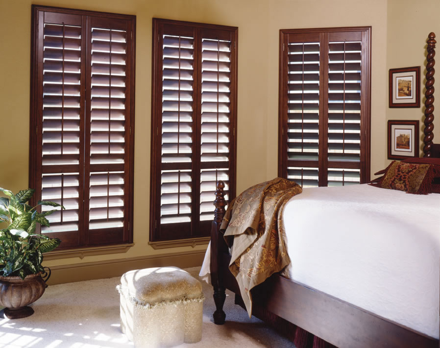 Premium Wood Plantation Shutters Stained Colors
